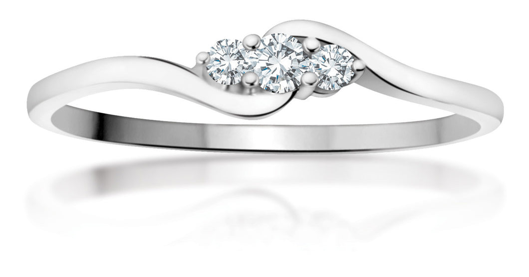 10Kt White Gold Curved Diamond Ring