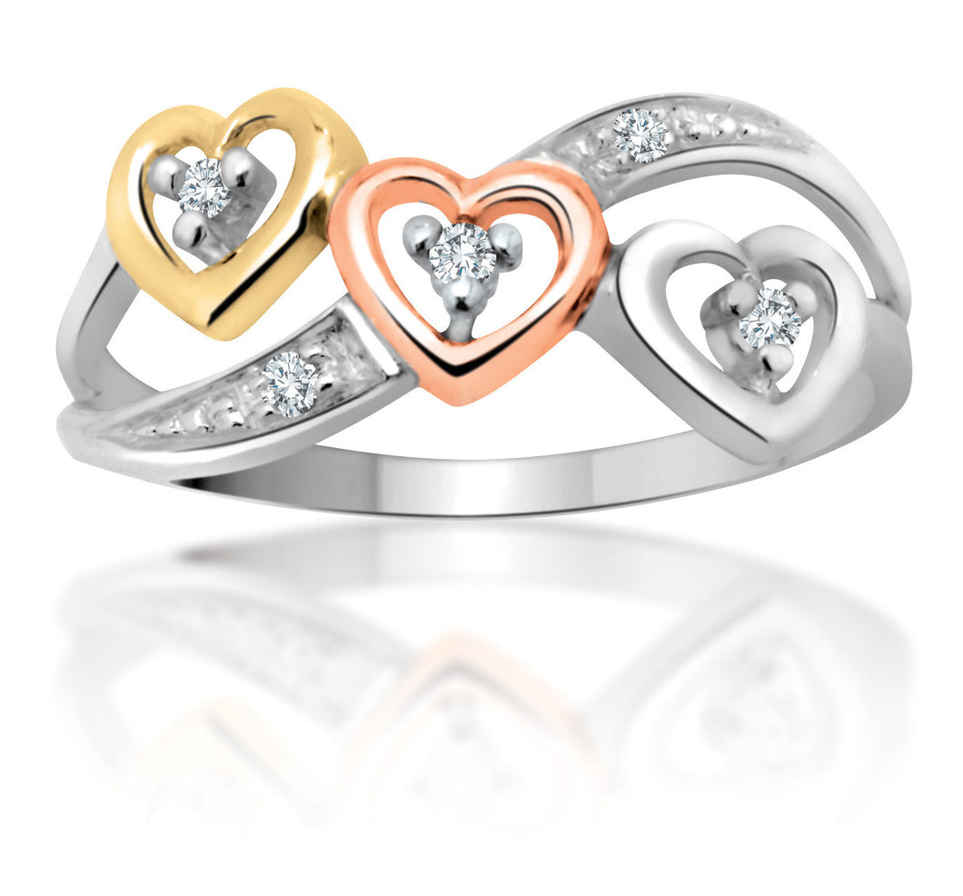 10kt Ladies Trio of Gold Hearts Diamond Ring