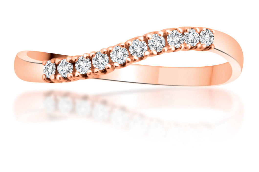 10Kt Rose Gold Curved Diamond Ring