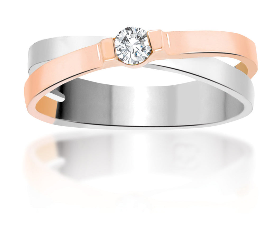 10Kt White and Rose Gold Diamond Ring