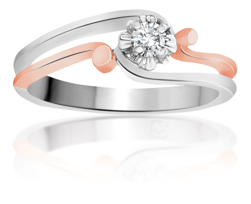 10Kt White Gold Canadian Diamond Ring with Rose Gold Accent