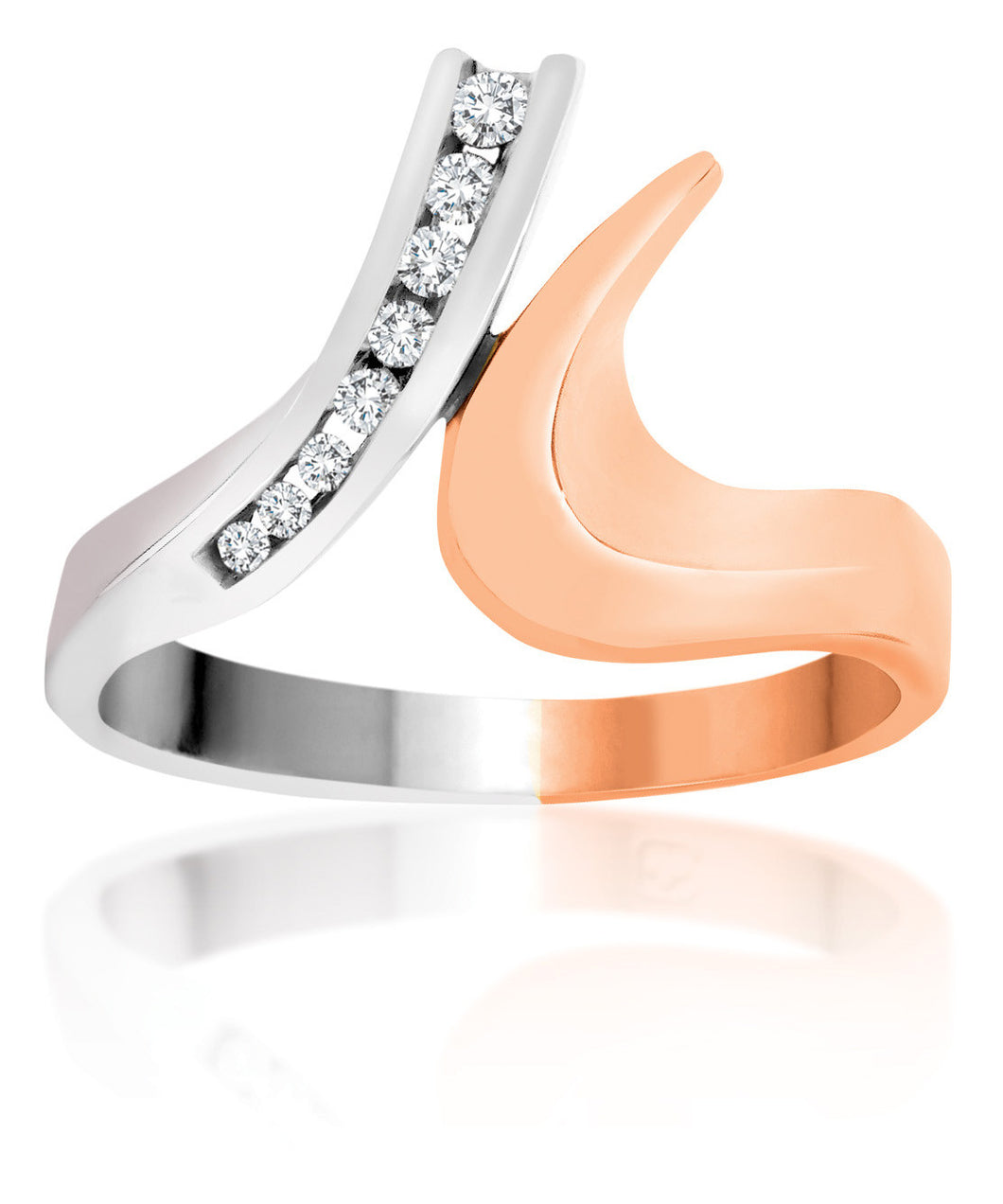 10Kt Ladies White and Rose Gold Diamond Swan Neck Ring