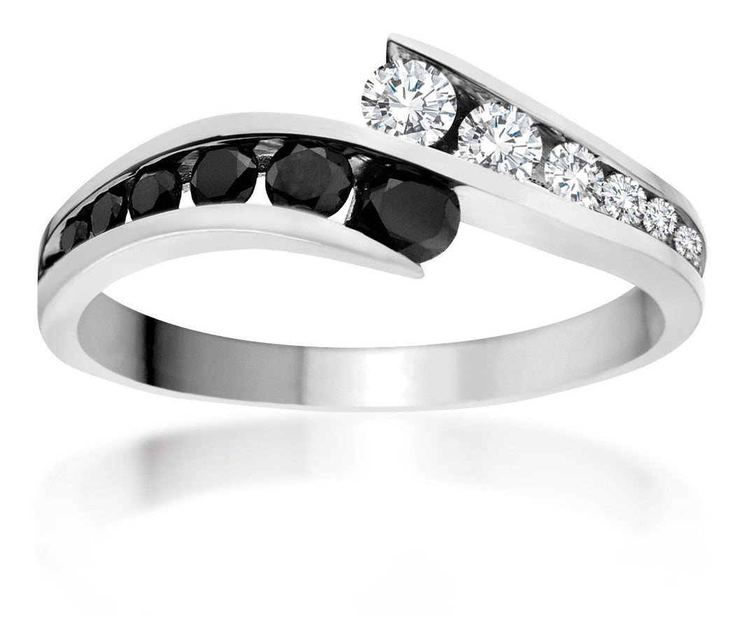 10Kt White Gold Ring with White and Black Diamonds