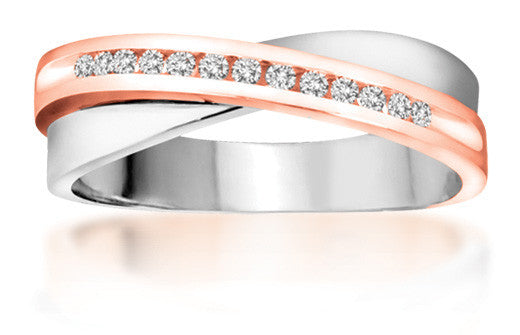 10Kt Ladies White and Rose Gold Diamond Ring