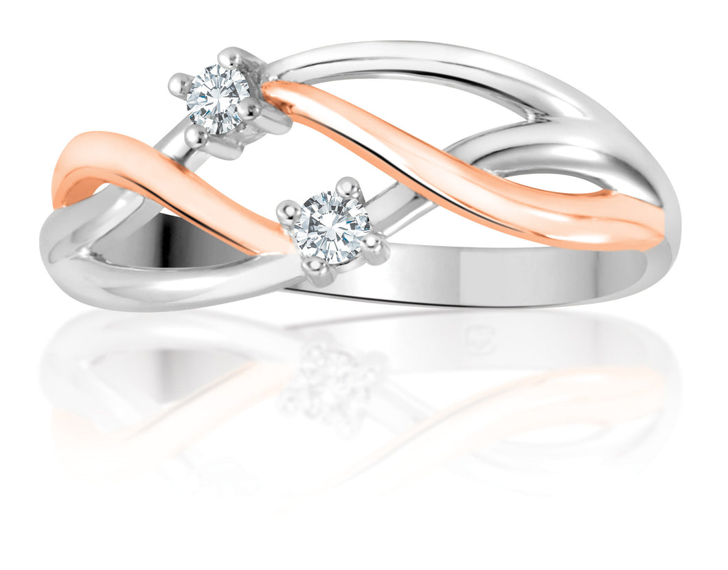 10Kt Ladies White and Rose Gold Diamond Intertwine Ring