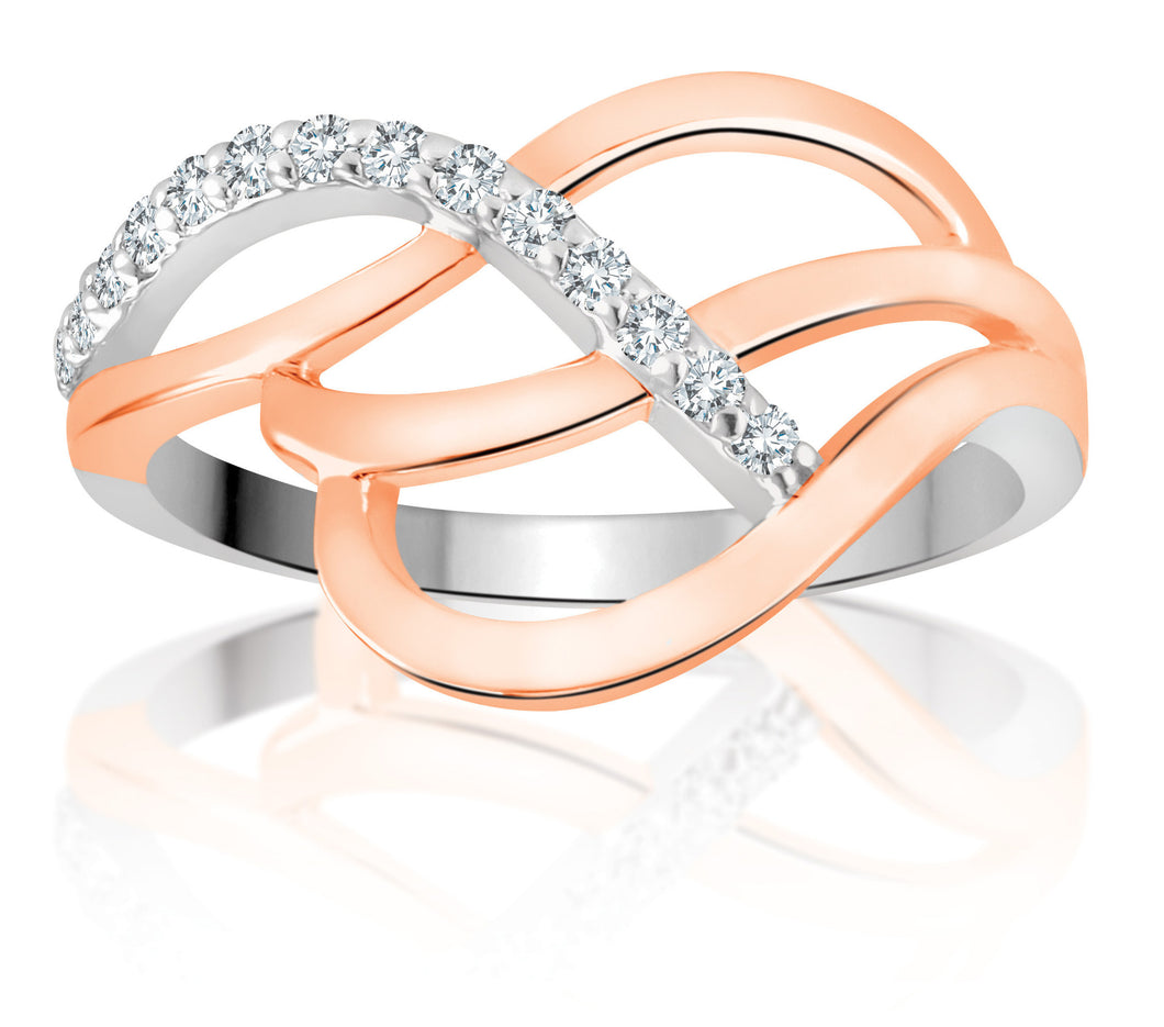 10Kt Rose Gold Diamond Ring with White Gold Accent