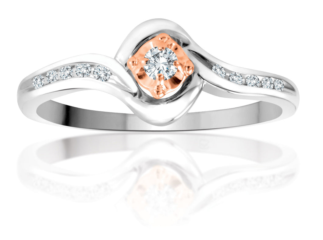 10Kt White Gold Diamond Ring with Rose Gold Center Accent Ring