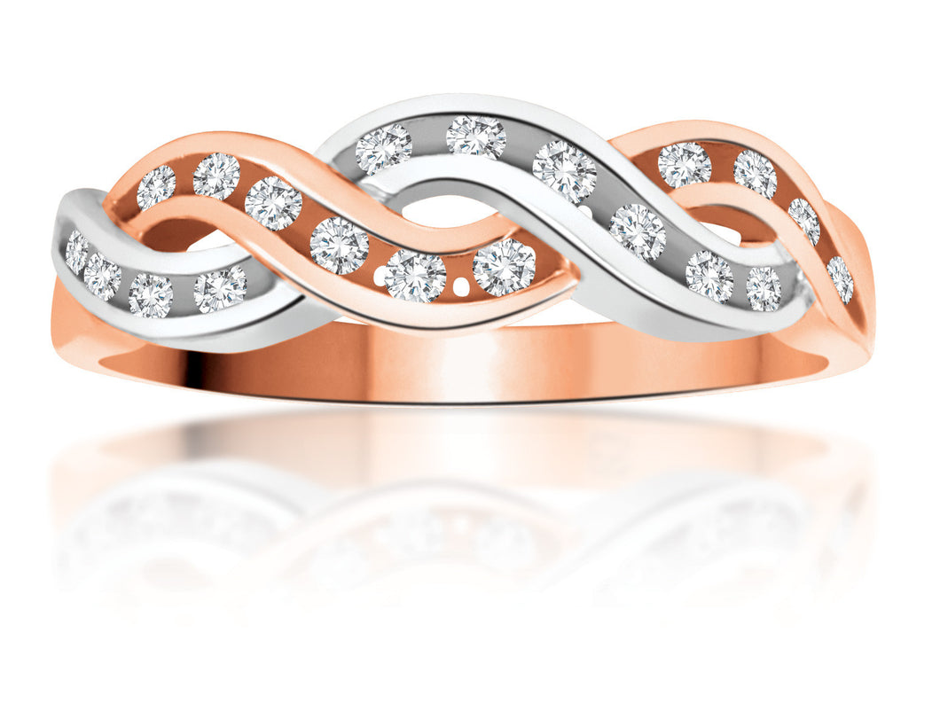 10Kt Ladies White & Rose Gold Braided Diamond Ring