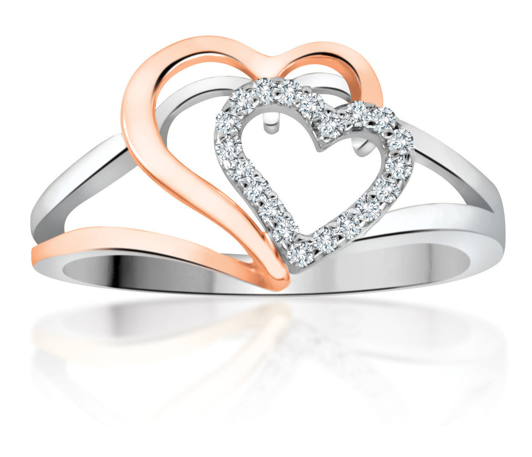 10Kt White Gold Double Heart Ring