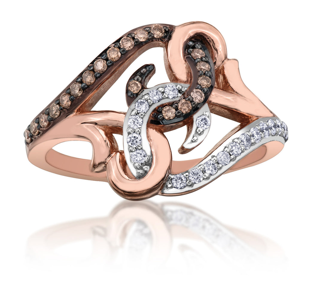 10Kt Ladies Rose Gold Ring with Chocolate Diamonds