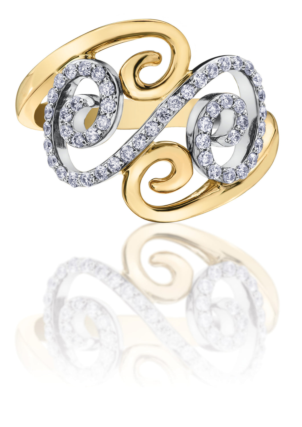 10Kt Ladies White and Yellow Gold with Diamonds Swirl Ring