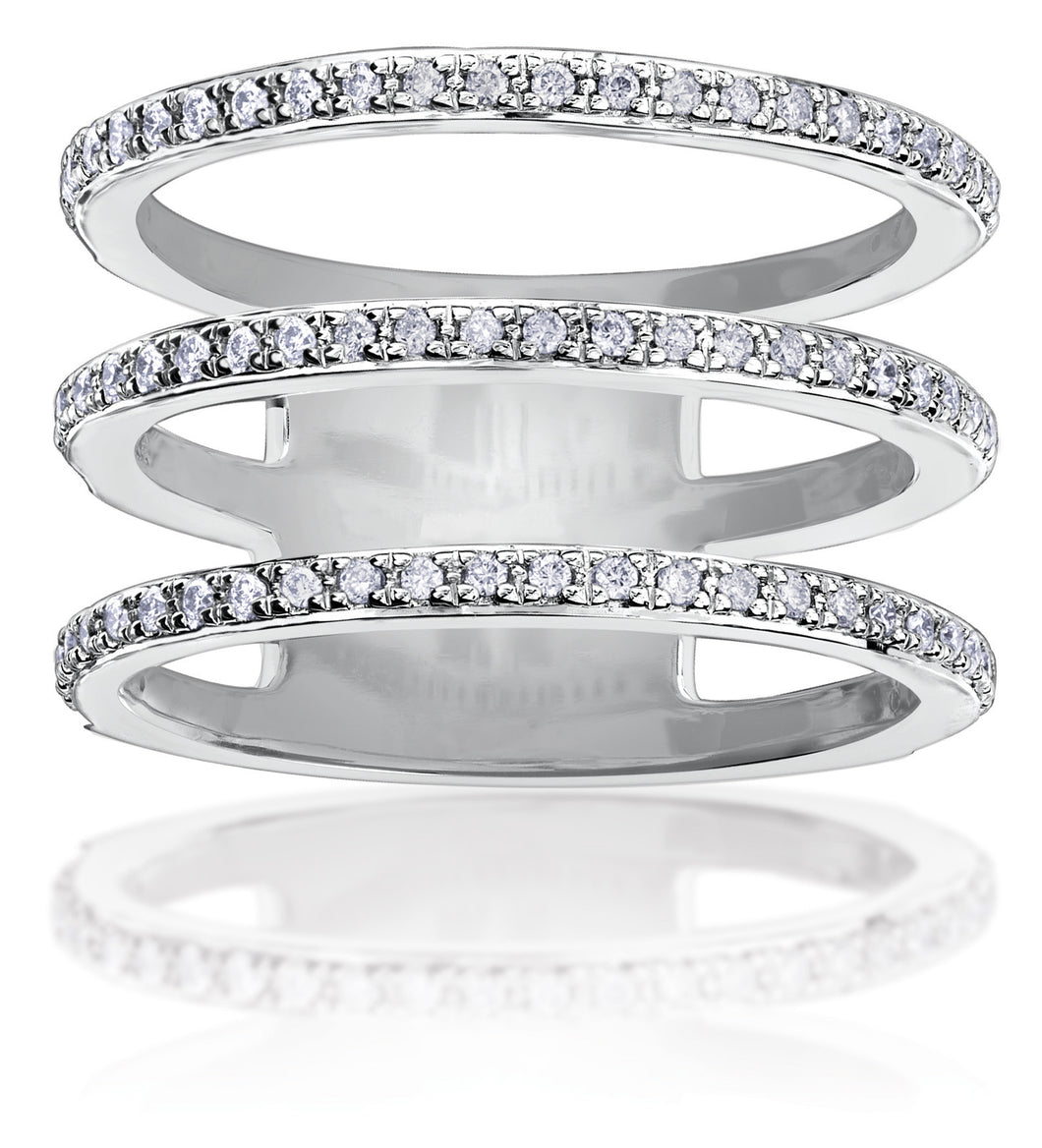 10Kt Ladies White Gold and Diamond 3 Tier Ring