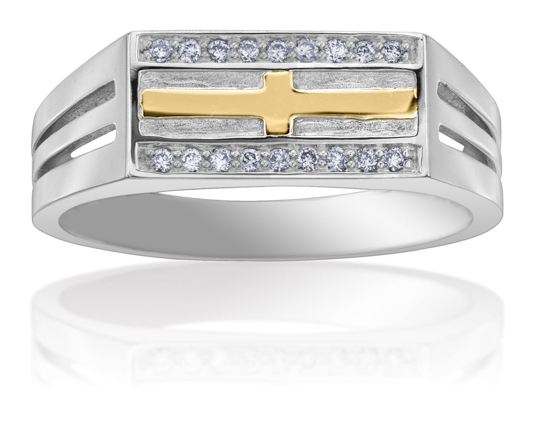 10Kt White Gold Men's Diamond Ring with Yellow Gold Accent Cross