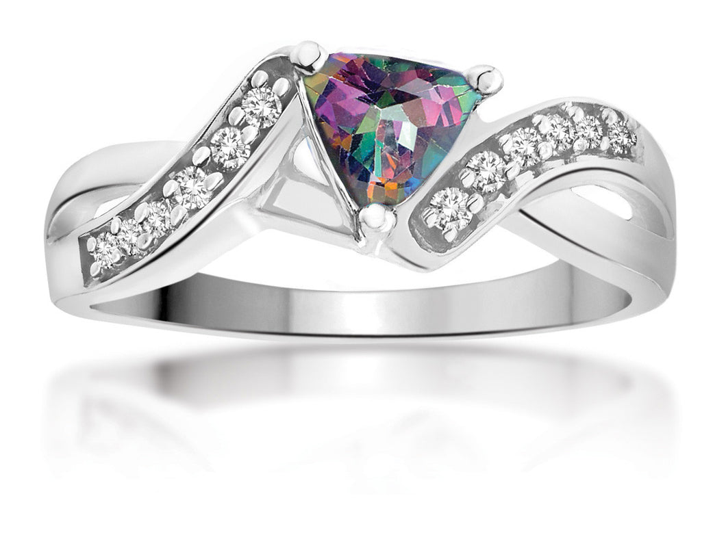10Kt Ladies White Gold Mystic Topaz and Diamond Ring