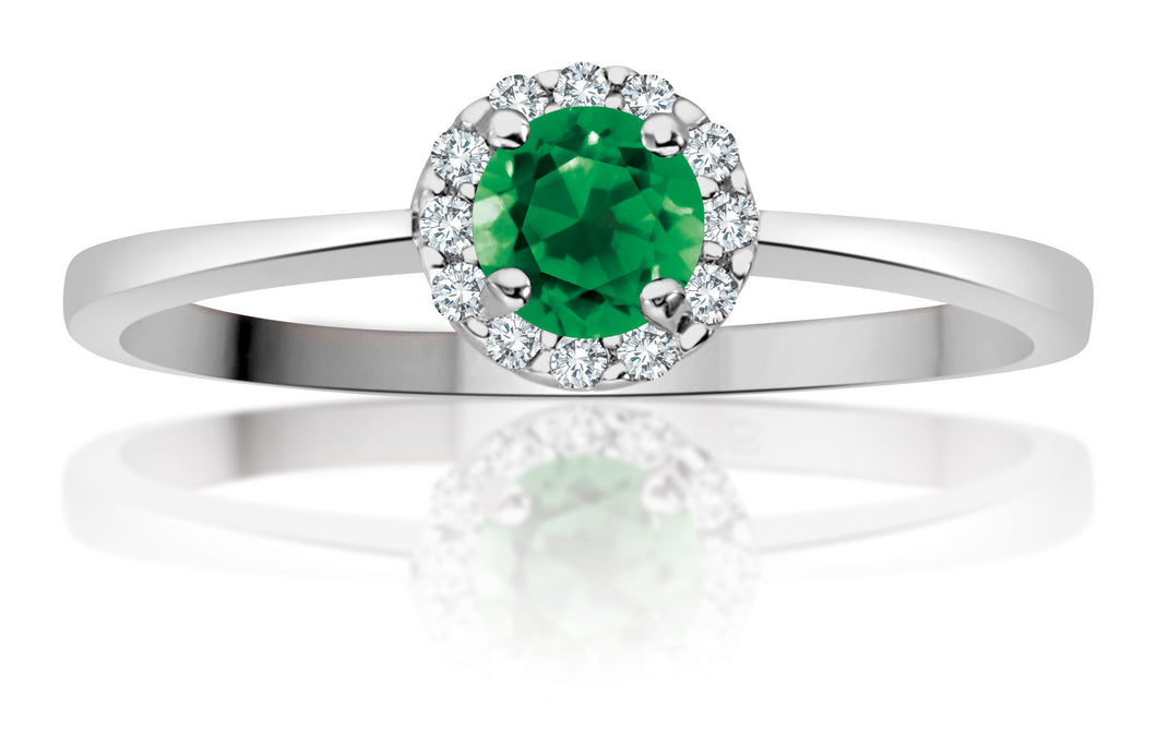 10Kt Ladies White Gold and Emerald Ring