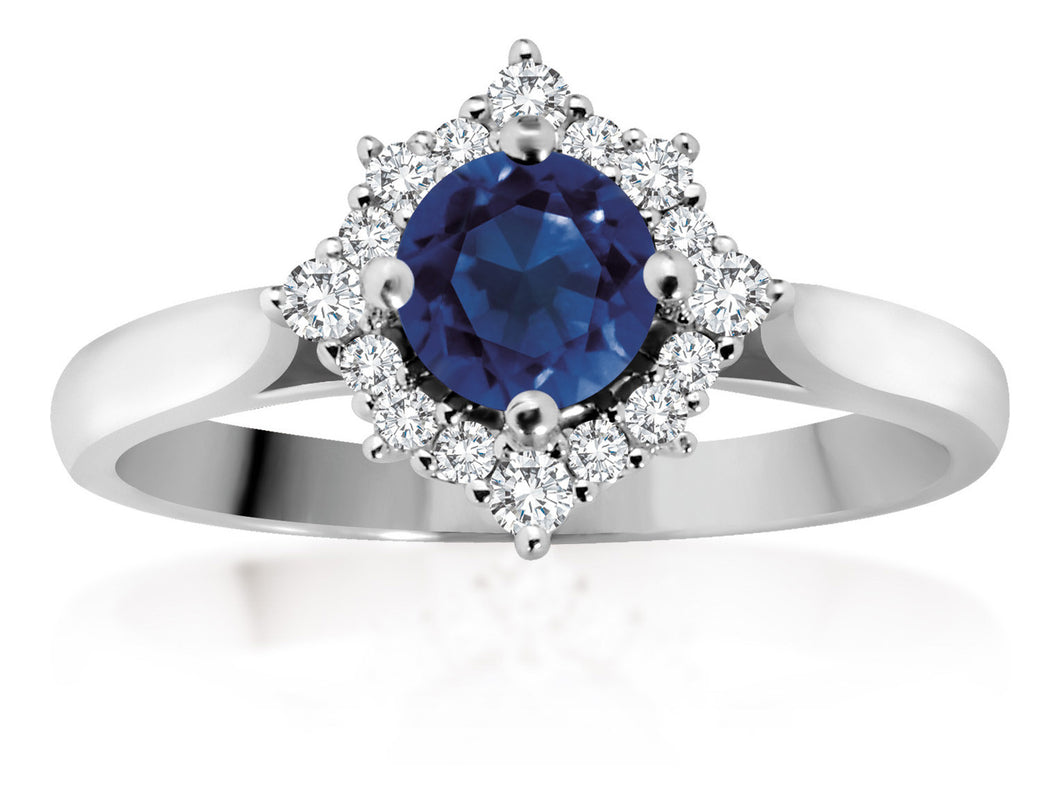 14Kt Ladies Diamond Halo Sapphire Ring