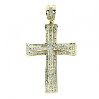 10KY 0.75ctw Diamond Cross Pendant