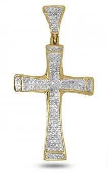 10Kt Yellow Gold 0.25CTW Diamond Cross Pendant