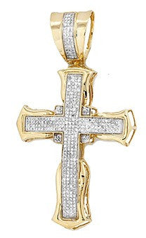 10KY 1.00ctw Micro Pave Diamond Cross Pendant