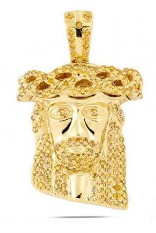 10KY 1.25ctw Yellow Diamond Jesus Pendant