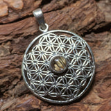 Rutilated Quartz Flower of Life Pendant~JRQTZPD1