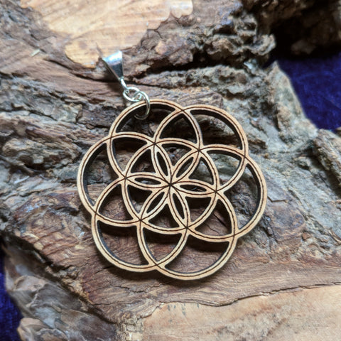 Alder Wood Flower of Life Pendant~JWFOLP01