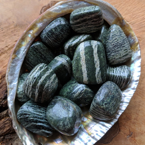 Chrysotile in Serpentine Tumbled~TUMCHSER