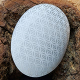 Flower of Life Etched Selenite Palm Stone CRFOLSEL