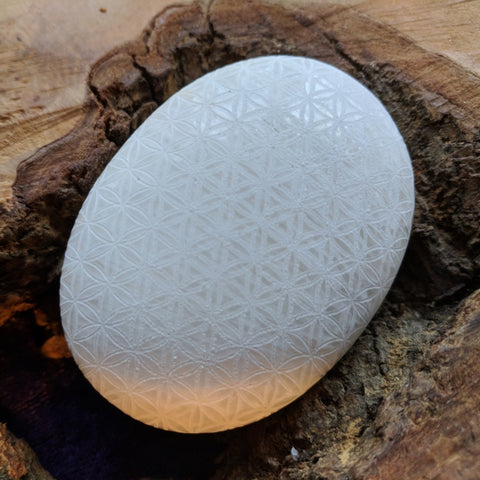 Flower of Life Etched Scolecite Palm Stone~CRFOLESC