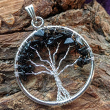 Black Tourmaline Tree Pendant-JSPWRBTT