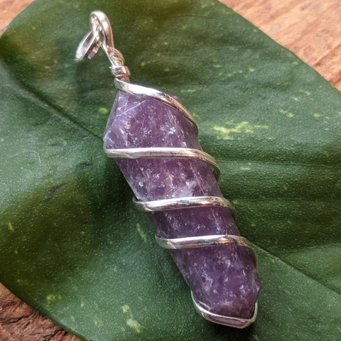 Lepidolite Point Pendant~JSPWRLP2