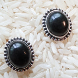 Black Tourmaline Post Earrings-Large~ JSSBTER1