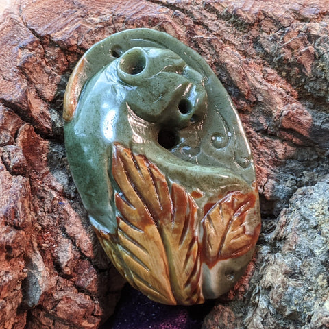 Polychrome Jasper Panther Carving~ CRACARV7
