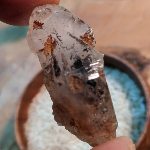 Carbon Included Elestial Quartz Crystal~CRCIEQ06