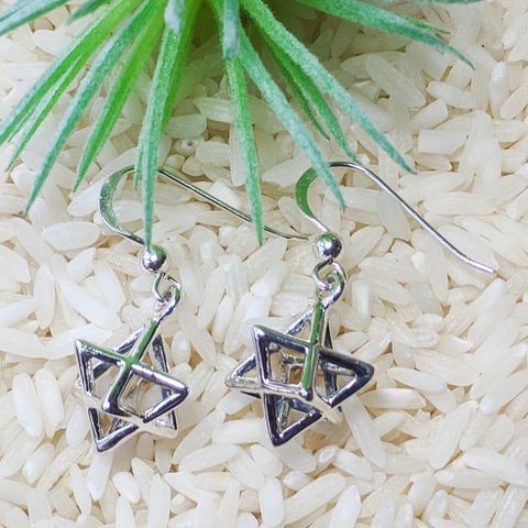 3D Sterling Silver Merkaba Earrings~JSSMERKE