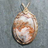 Wire Wrapped Lace Agate Pendant