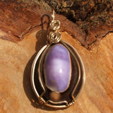 Wire Wrapped Purple Cowrie Shell Pendant