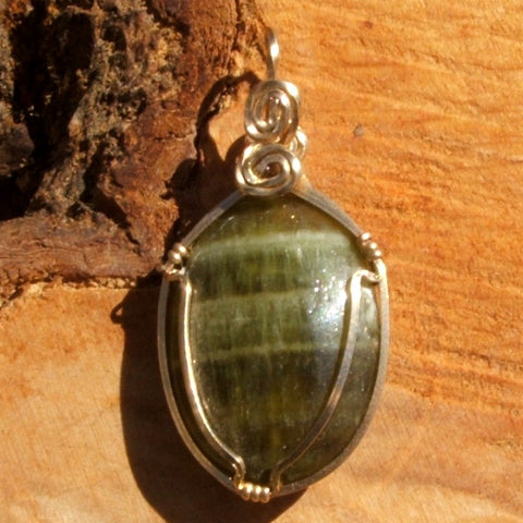 Wire Wrapped Green Calcite Pendant