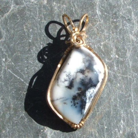 Wire Wrapped Merlinite Dendritic Opal Pendant