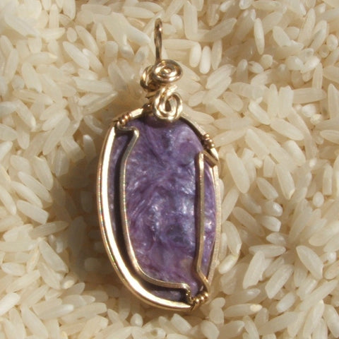 Wire Wrapped Charoite Pendant