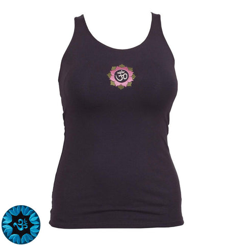 Tank Racer Back Dark Grey - Embroidery Green Chakra