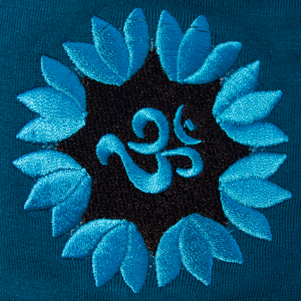 Full Length Black Teal - Embroidery Lotus Chakra