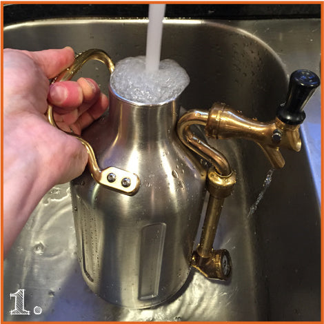 Remove cap and fill uKeg with hot water