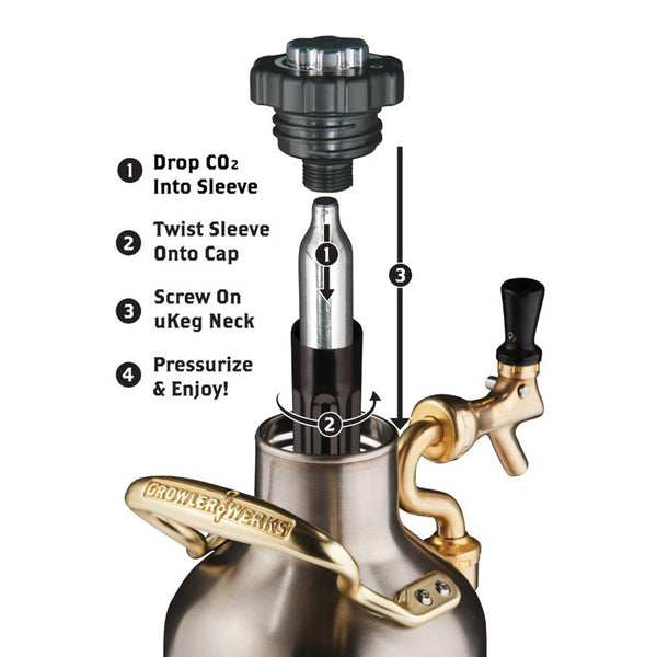 Ukeg 64 Pressurized Steel Growler With Tap Growlerwerks