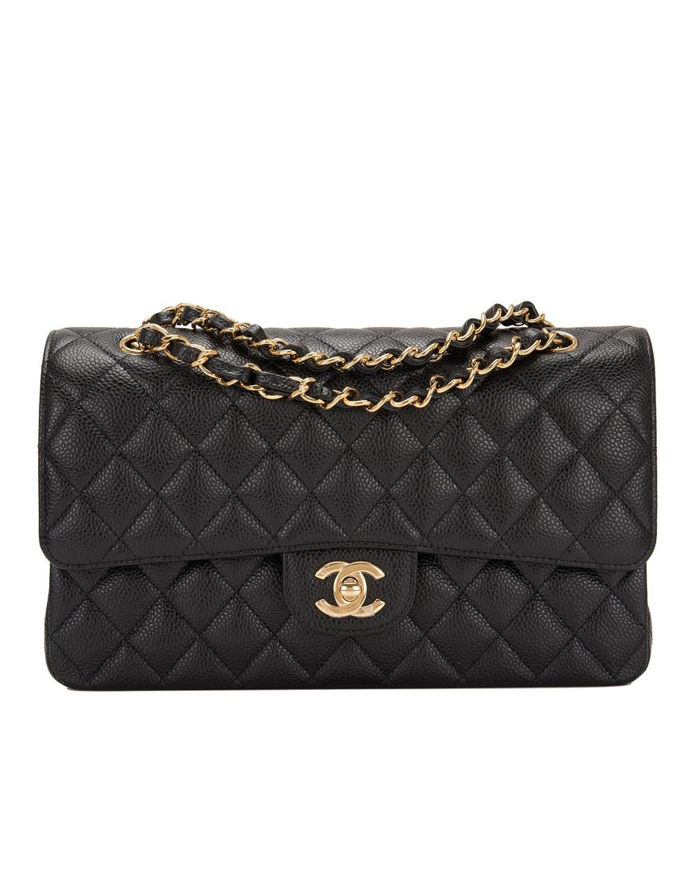 CHANEL CLASSIC MEDIUM DOUBLE FLAP BAG IN BLACK CAVIAR LEATHER (RENTAL)