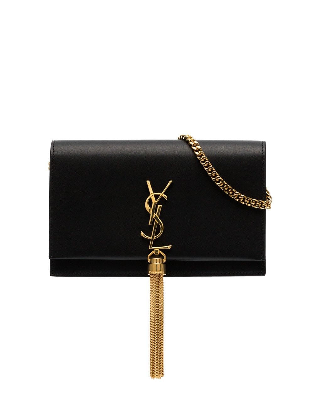 SAINT LAURENT CLASSIC SMALL KATE TASSEL CHAIN BAG IN BLACK LEATHER (RENTAL)