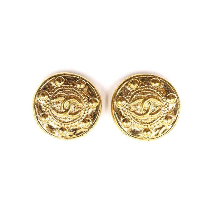 Chanel Gold CC Medallion Clip On Earrings (Pre-Loved)