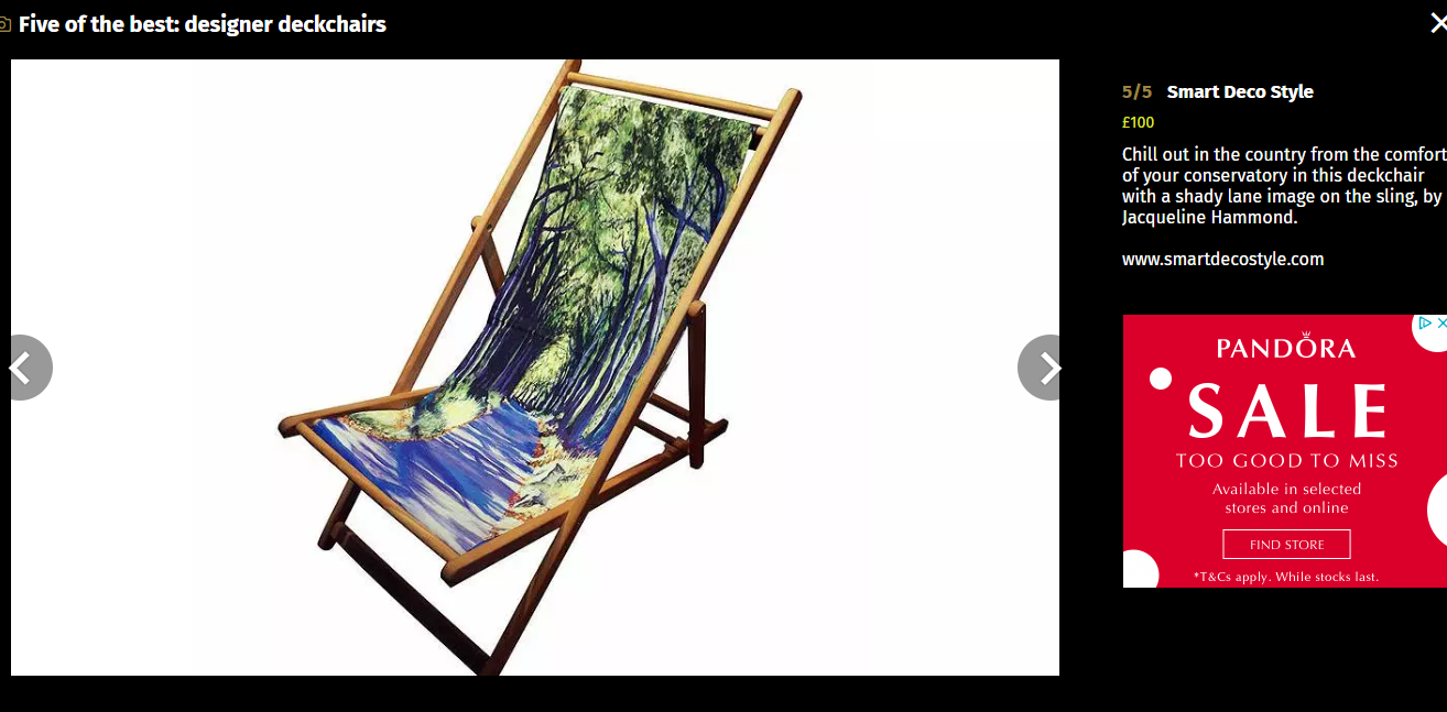 Country lane deckchair-evening standard newsapaper 2015-Smart Deco-Jacqueline Hammond