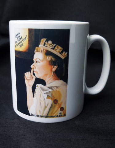 Queens Jubilee Mug by British artist Jacqueline Hammond as discussed on BBC Radio Sussex