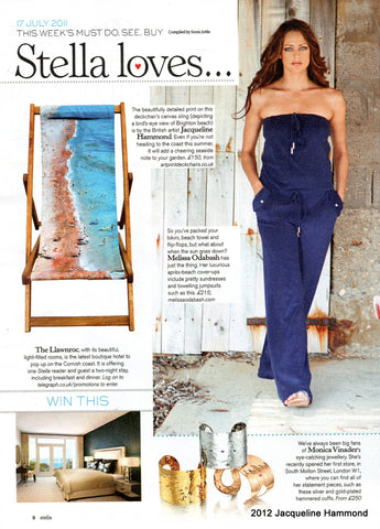 Smart Deco's Life's A Beach Deckchair by the British artist Jacqueline Hammond featured in the national newspaper The Sunday Telegraph's Sunday supplement, Stella Magazine
